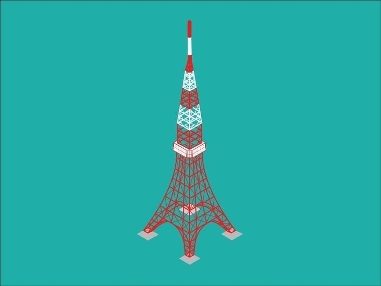 tokyo tower - isometric - illustration - sophierousseau | ello