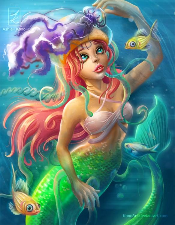 Jelly mermaid - original 11 14  - konoart | ello