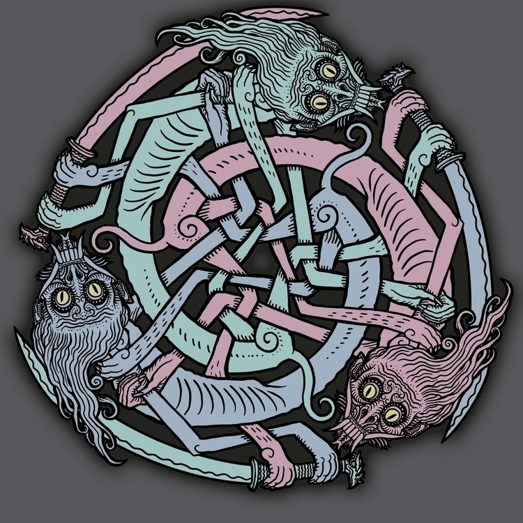 Monster Knot - knotwork, monsters - ticklemecthulhu | ello
