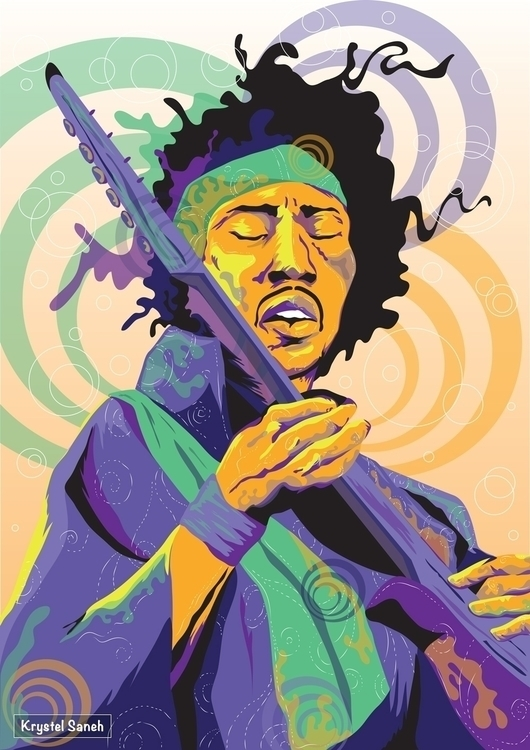 Jimi Hendrix Digital Portrait - illustration - christelsaneh | ello