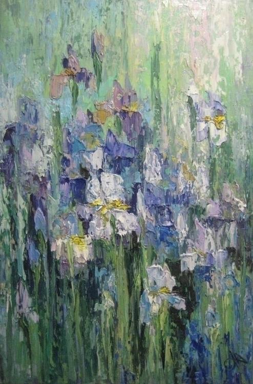 Irises flowers. 90x60. Oil canv - tanya_vasilenko | ello