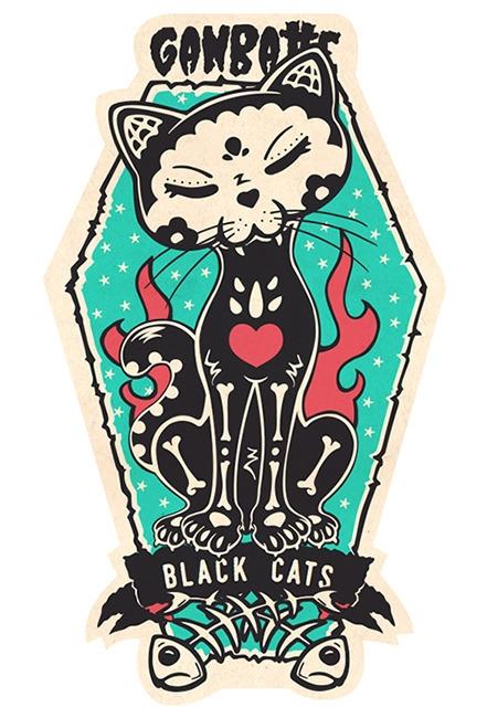 Sticker Desing Black Cat Skull - leisha-1415 | ello