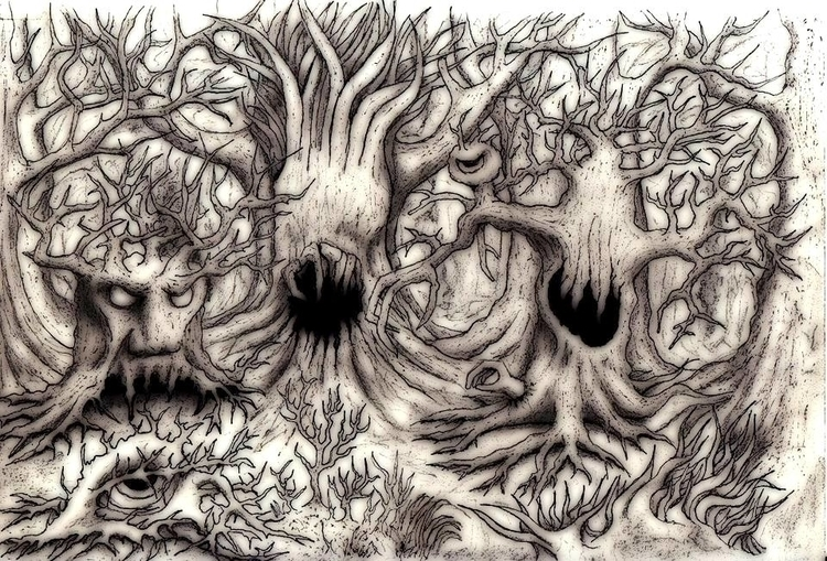 Wild wood - illustration, drawing - cheechwiz | ello