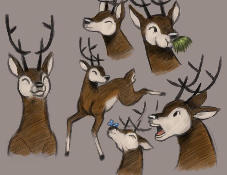 deer - illustration, art, digitalart - alexjohnston | ello