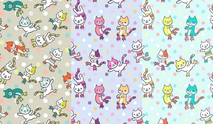 Roller cats - fun, funny, cute, patterns - katuno | ello