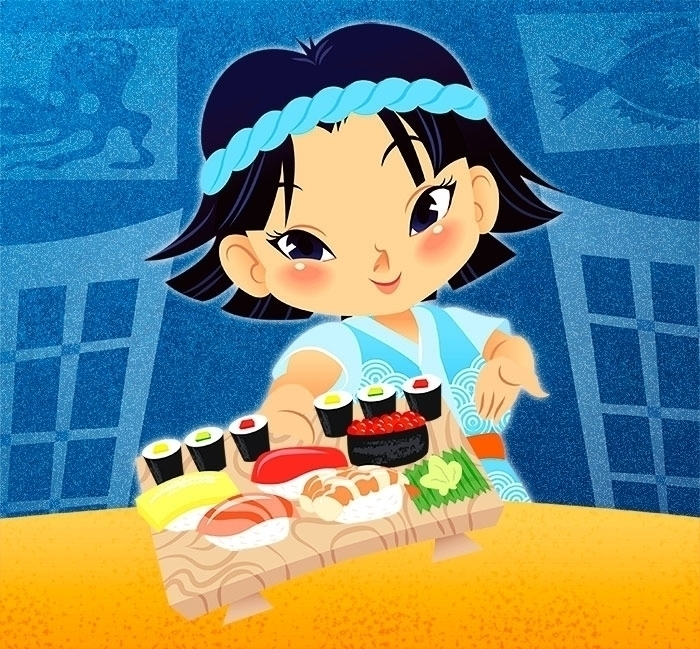 Kids cook - Sushi - illustration - katuno | ello