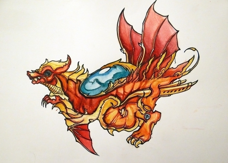 watercolors - dragon, watercolor - syrnique | ello