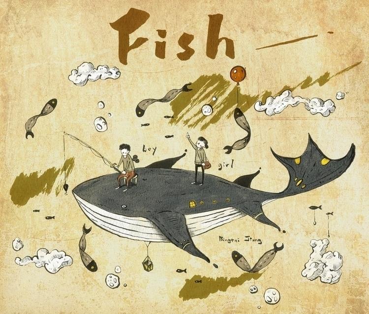 Fishing - illustration, penink, inktober - bingtai | ello