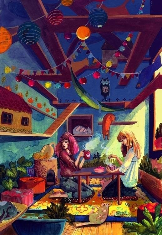 Cat Cafe - malisasuchanya, illustration - lisabanana | ello