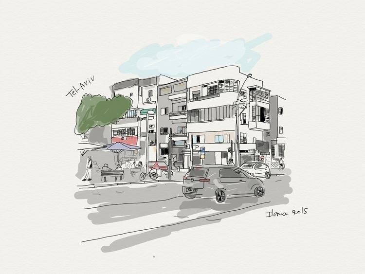 Tel-Aviv, israel - illustration - ilanagraf | ello