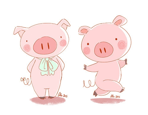 design - pigs, characterdesign, illustration - alexandrasketch   ello