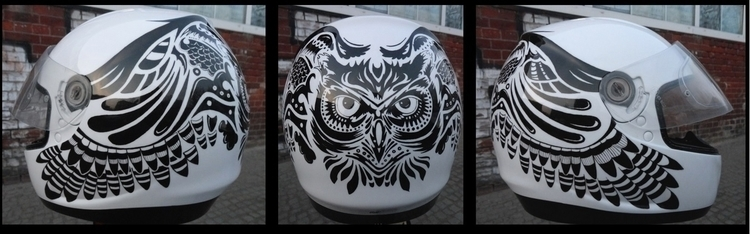 Owl helmet- painted airbrush, p - mleczu | ello