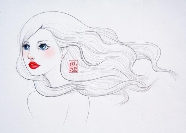 Beautiful woman long curly hair - jessicaguarnido | ello