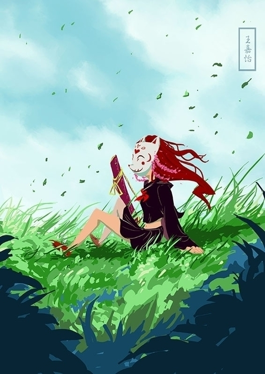Beni, enjoying wind - illustration - toydreamer | ello