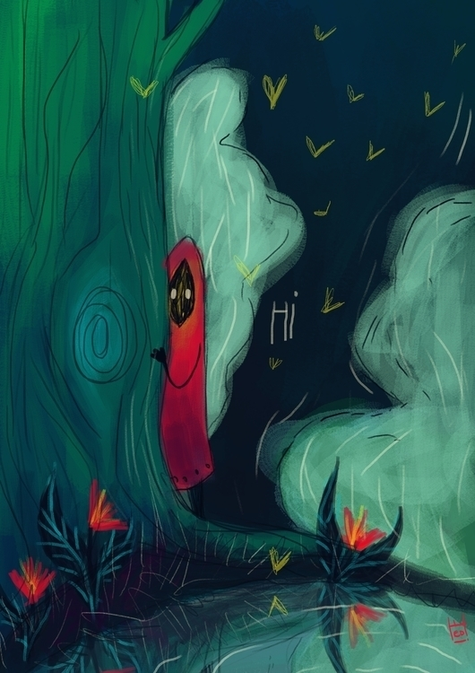 Shy Forest Spirit - forest, tree - hedif | ello