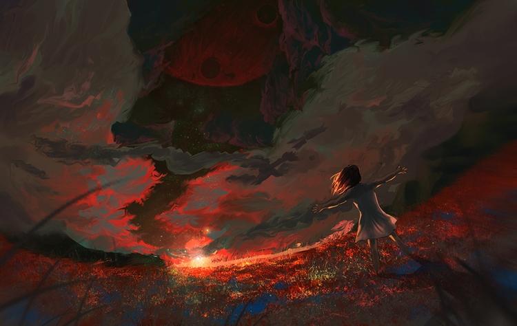 Dreaming red skies - sunrise, universeofdreams,space,alien,chreature,scifi,science,fiction,bubbles,stars,bubble - akrishna-9476 | ello