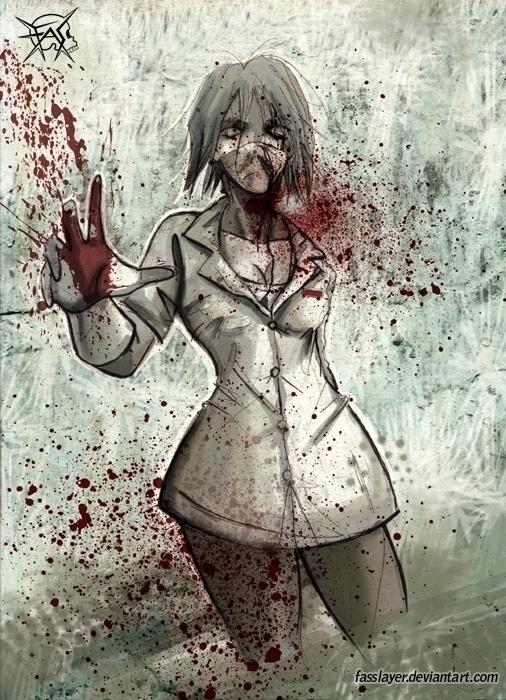 zombie nurse - illustration, painting - fasslayer   ello