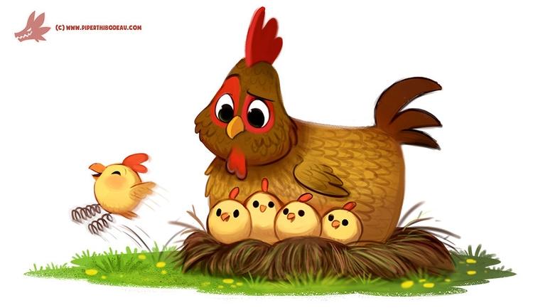 Daily Paint Spring Chicken - 1216. - piperthibodeau | ello