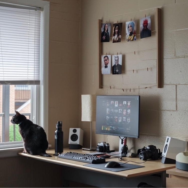 Setup, pc, mac, desk, cat, black - edwincanales | ello