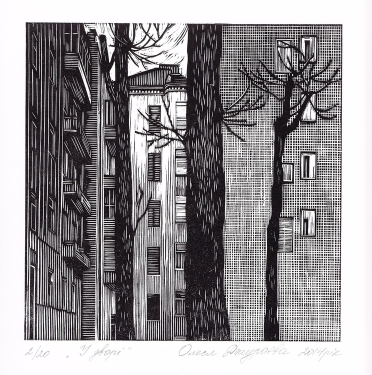 Outdoors, linocut, 2014, 18х18  - n2ngallery_uae | ello