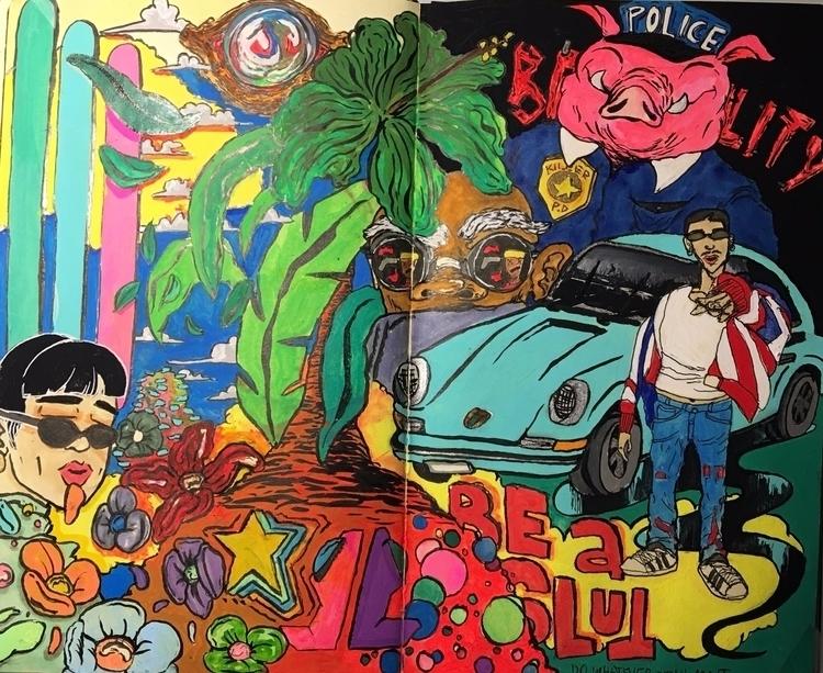 slut  - artwork, art, canvas, mixedmedia - drugquests | ello