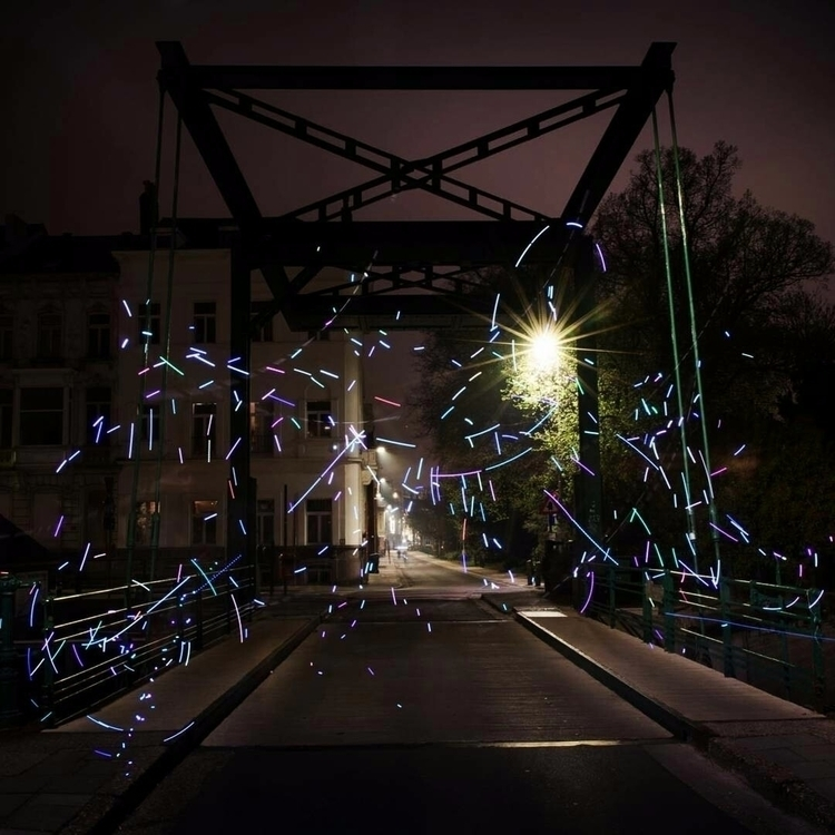 Throwing confetti - ghent, bridge - graffitilights   ello