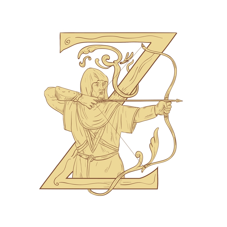 Aiming Bow Letter - Medieval, Archer - patrimonio   ello