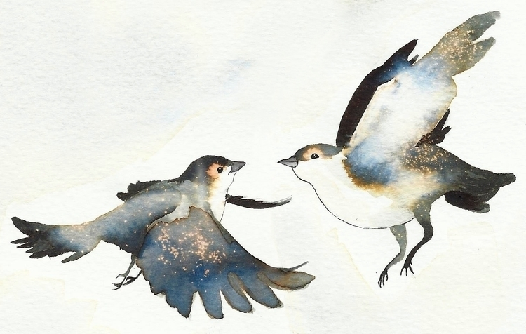 illustration, watercolor, birds - 1eligarcia | ello