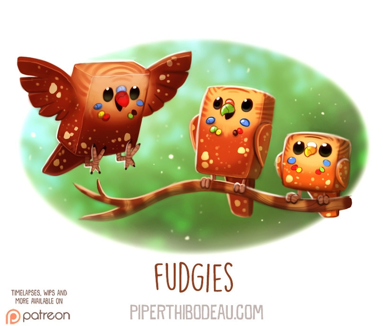 Daily Paint 1613. Fudgies - piperthibodeau | ello