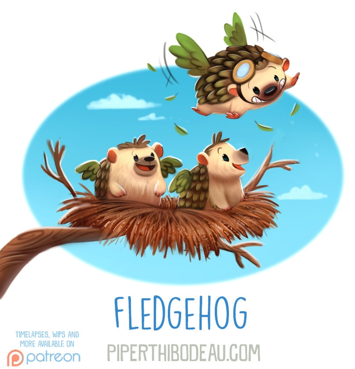 Daily Paint 1616. Fledgehog - piperthibodeau | ello