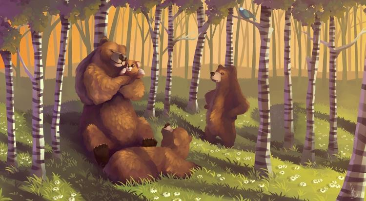 illustration, bear, family - schoyhan   ello