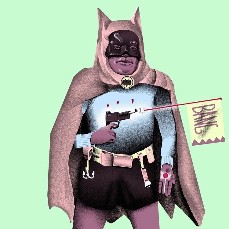 Batmen - illustration, pastel, drawing - richchane | ello