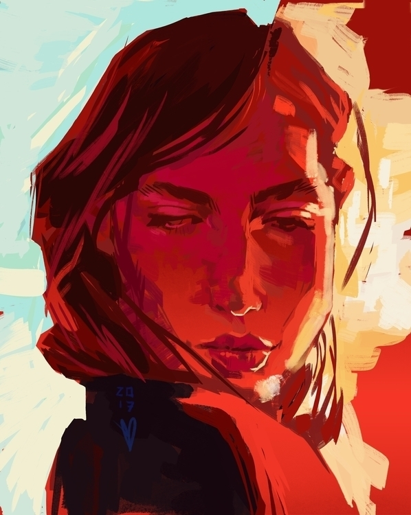 Crista - red, women, painting, speedpaint - evandileo   ello