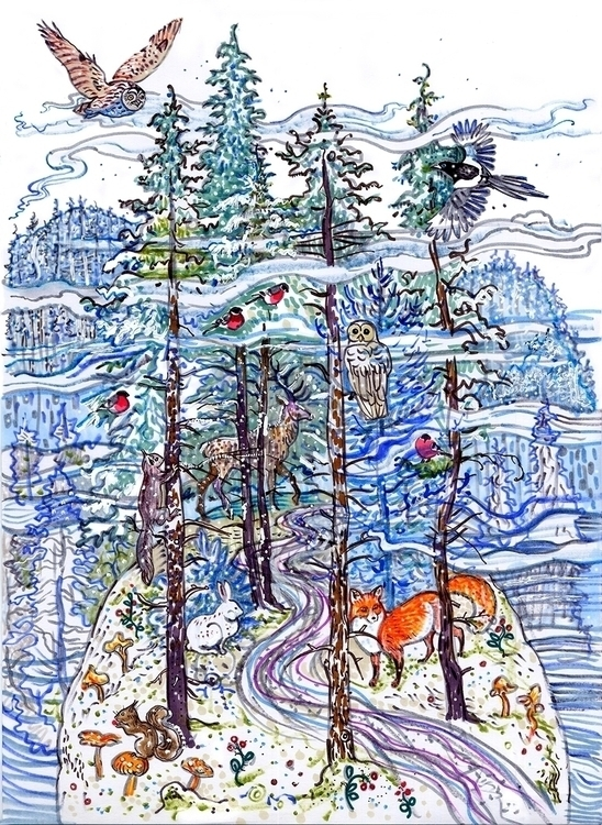 Enchanted forest - snow, trees, animals - naktisart | ello