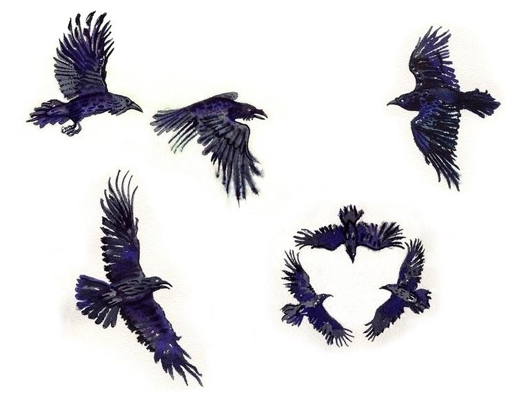 ravens - sevenravens, doodle, fairytale - naktisart | ello