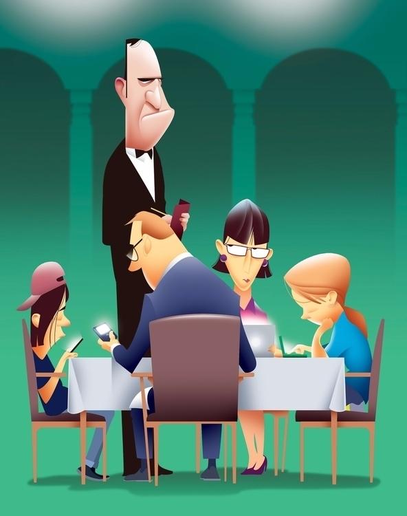 Tech family, evening - illustration - cmorris   ello