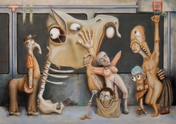 Monster tram, 1996, oil/canvas  - dzsoe | ello