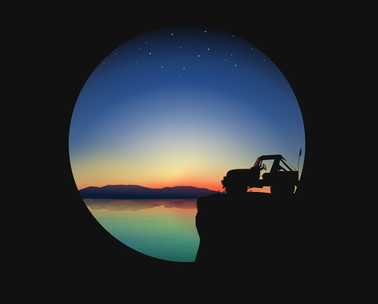 Drawing Adventure - Sunrise, Jeep - ozant291 | ello