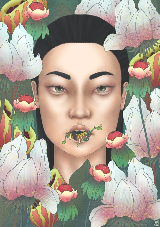 Weird Girl Hiding Flowers (Krit - trillian5050 | ello