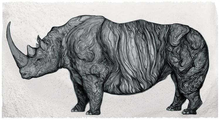 MASTODON SERIES Rhino - alvarocuberoillustration | ello