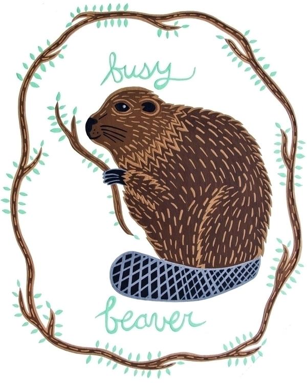 Busy Beaver | Rendered gouache  - carolinewillustration | ello