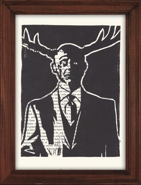 Hannibal Stag Linocut Print 6x8 - paulfrancisj | ello