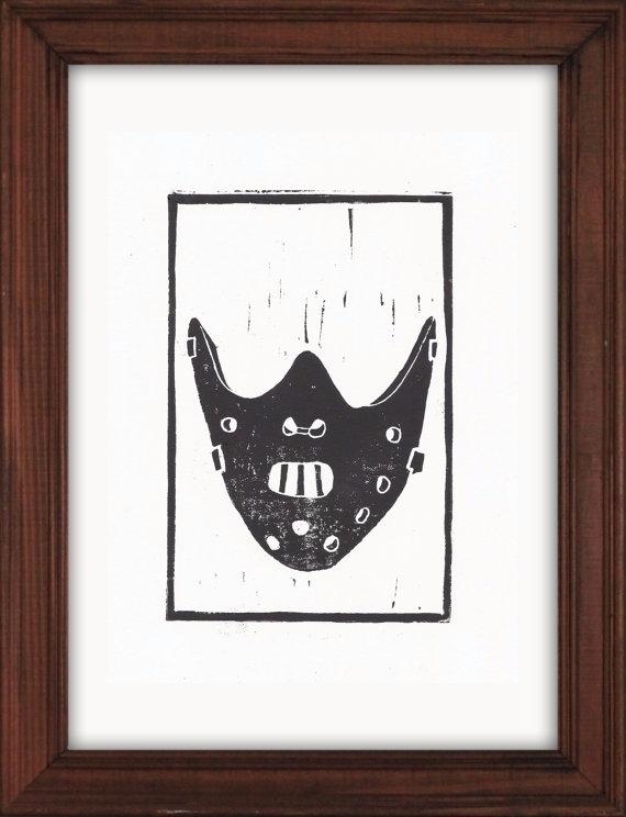Hannibal Biter Mask Linocut Pri - paulfrancisj | ello