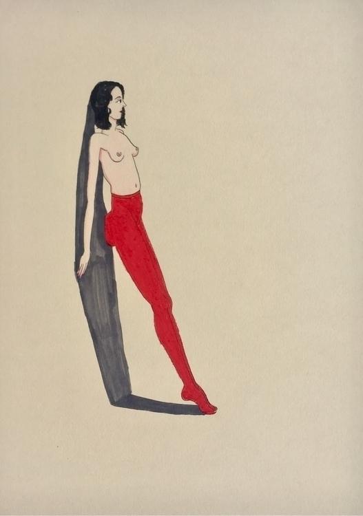 Standing - kunst, drawing, redstockings - lorettamae | ello