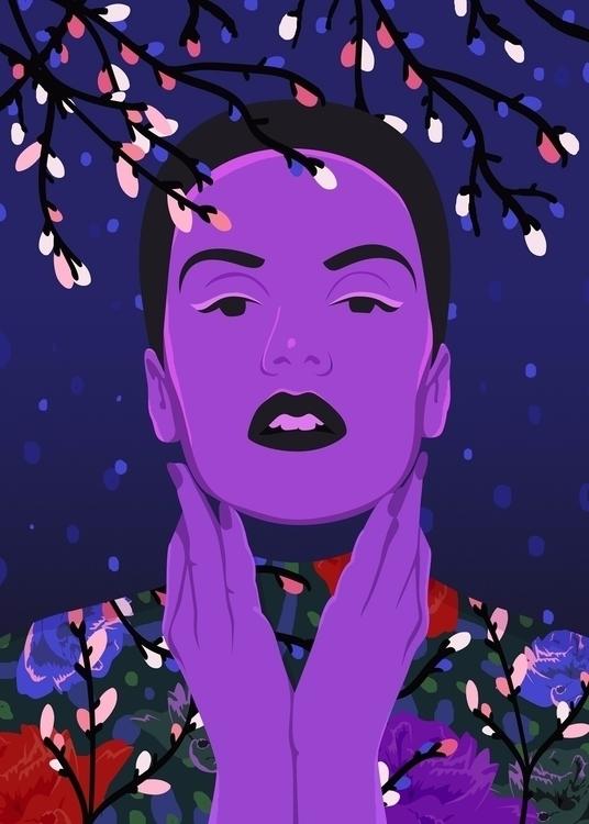Winter Flower Girl - illustration - petraerikssonstudio | ello