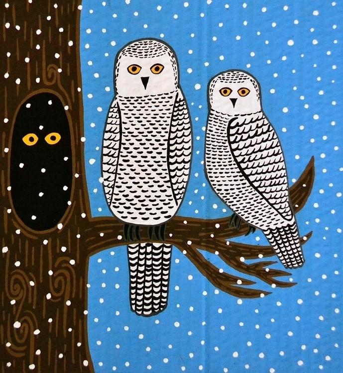 Parliament Snowy Owls | Rendere - carolinewillustration | ello