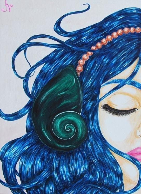 Listen ocean - art, illustration - 13ladyn | ello
