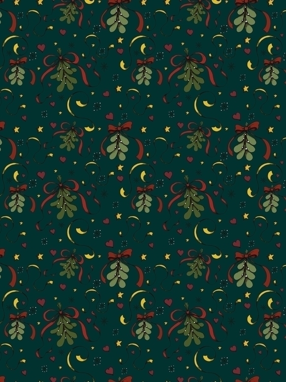 mistletoe themed pattern drawn  - svaeth | ello
