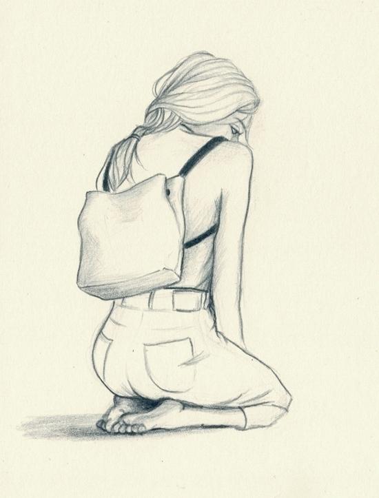 Indigo - drawing, sketch, girl, backpack - j0eyg1rl   ello