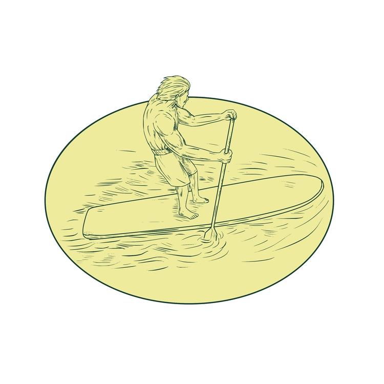 Stand Oval - Surfer, Dude, Paddle - patrimonio | ello